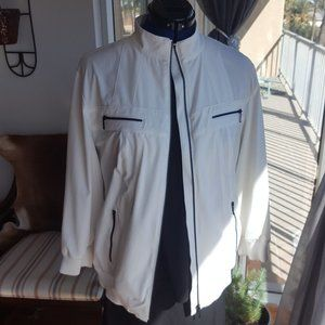 Chico's jacket sporty white black zippers